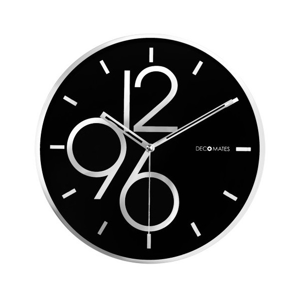 DecoMates Non-Ticking Silent Wall Clock, Sharp Shimmer, Black/Silver)