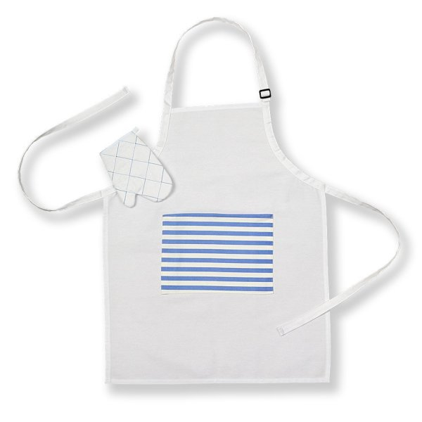 Kids Apron and Oven Glove Set White with Pocket