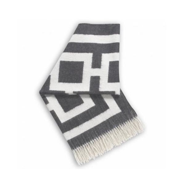 Jonathan Adler Richard Nixon Throw, Charcoal/Natural