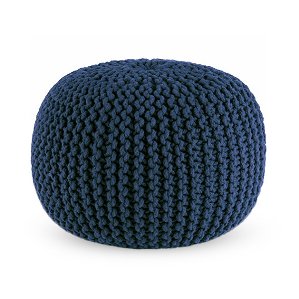 Cotton Craft Hand Knitted Dori Pouf, Blue