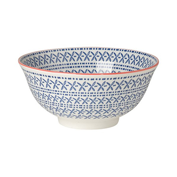 Now Designs Akita Stamped Bowl, Blue, Set of 6