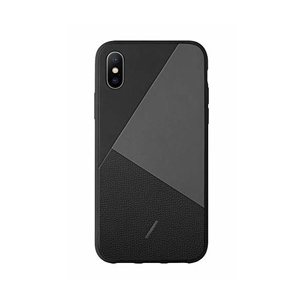 Native Union Clic Marquetry Case - Italian Nappa Leather Cover - Compatible with iPhone X/XS (Black)