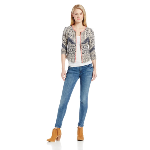 Lucky Brand Women's All-Over Print Jacket, Navy Multi, Medium