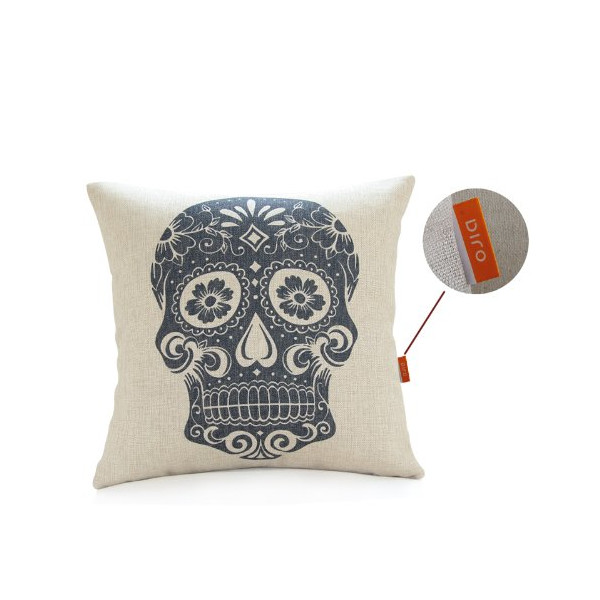 OJIA New Beautiful Mexican Candy Skulls Bonehead 18 X 18 Inch Cotton Linen Decorative Throw Cushion Cover / Pillow Sham (Black)