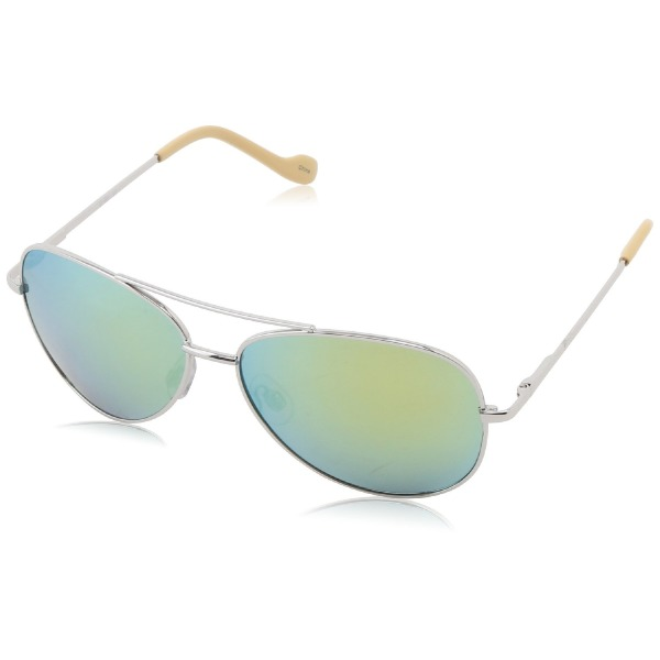 Jessica Simpson Women's J402 SLVYLW Aviator Sunglasses,Silver & Yellow,59 mm