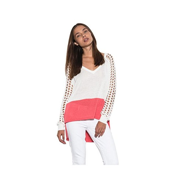 Women Casual Marley Long Open Sleeve Light Sweater White Color Block-L
