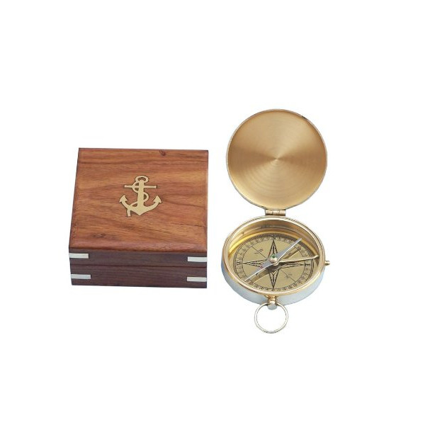 "Handcrafted Nautical Decor Solid Brass Gentlemen's Compass with Rosewood Box, 4"", Brass"