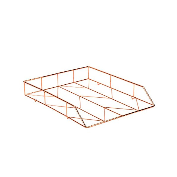 U Brands Desktop Letter Tray, Wire Metal, Copper