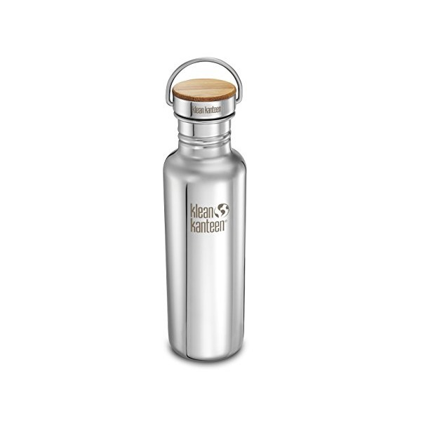 Klean Kanteen 27 -Ounce, Bamboo Cap, Mirrored Stainless Steel Water Bottle