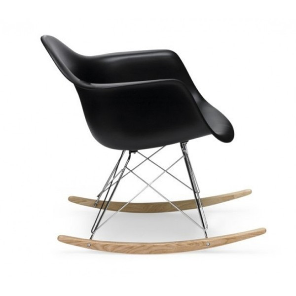 LexMod Molded Plastic Armchair Rocker in Black