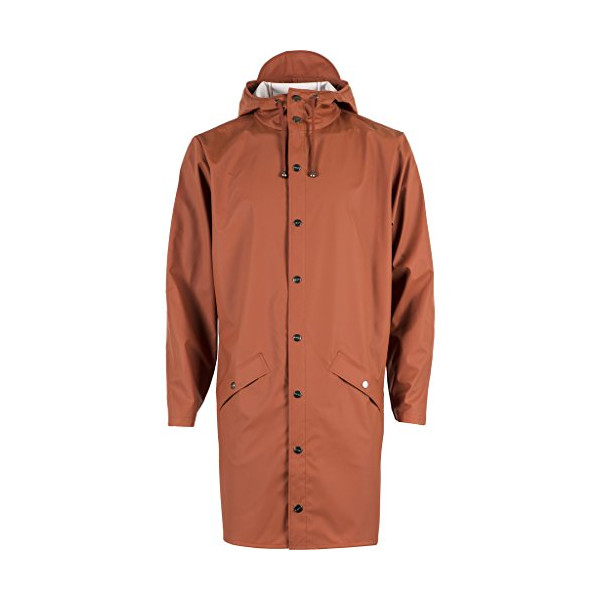RAINS Waterproof Long Jacket - Rust XS/S