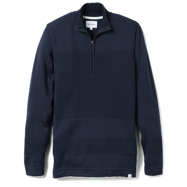 Norse Projects Men's Half Zip Bubble Sweater, Navy