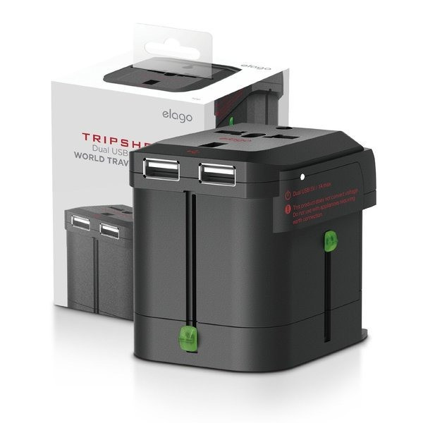 Elago Tripshell World Travel Adapter (Built-in Dual USB)