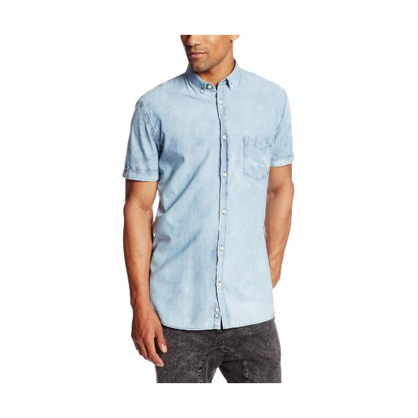 Zanerobe Men's Seven Ft Short Sleeve, Light Blue Acid, Large