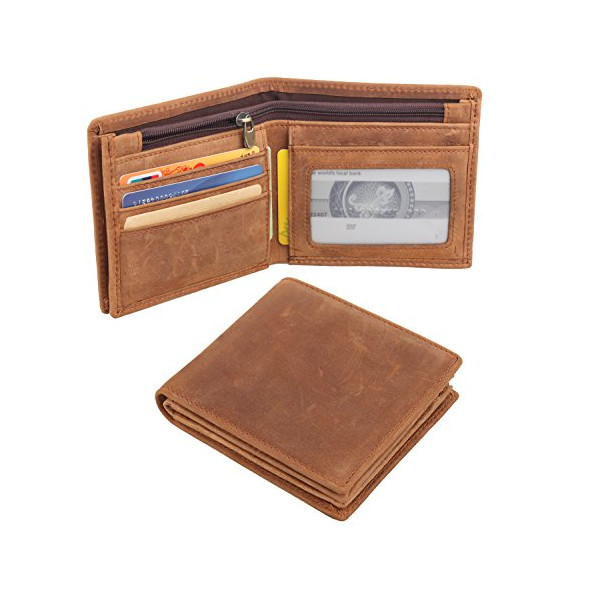 Polare Men's Cowboy Large Natural Cowhide Leather Wallet Brown Color