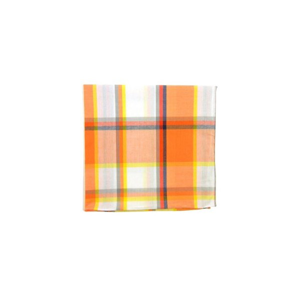 100% Cotton Tangerine Powered Madras Plaid Pocket Square