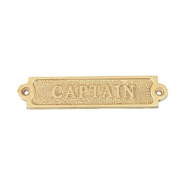 "Hampton Nautical  Brass Captain Sign, 4"", Brass"