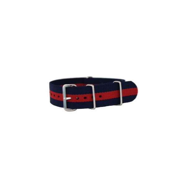 20mm James Bond Navy Blue / Red - Nylon Nato Ballistic Military Watch Band Strap G-10