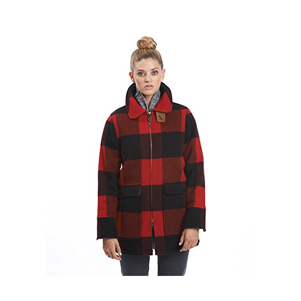 Woolrich Women's Giant Buffalo Wool Coat, RED PLAID (Red), Size M