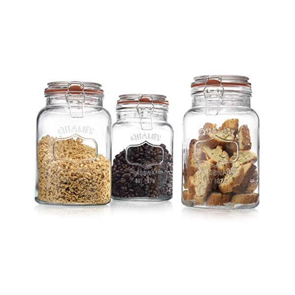 Zeesline Quality Airtight Clear Glass Canisters for Kitchen & Bathroom with Locking Clamp Lids - 34/43/54 Oz. 3 Piece Food Storage Set