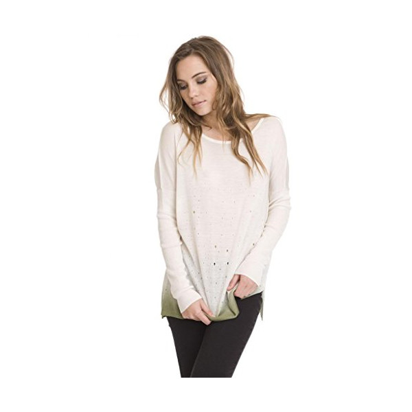 One Grey Day Women's Berk Casual Pullover Sweater-White-S