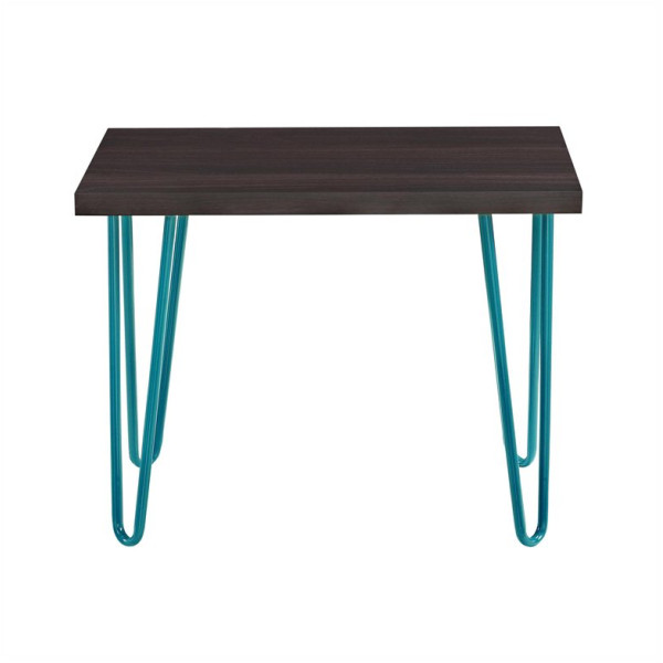 Altra Furniture Owen Retro Stool with Teal Metal Legs, Espresso Finish