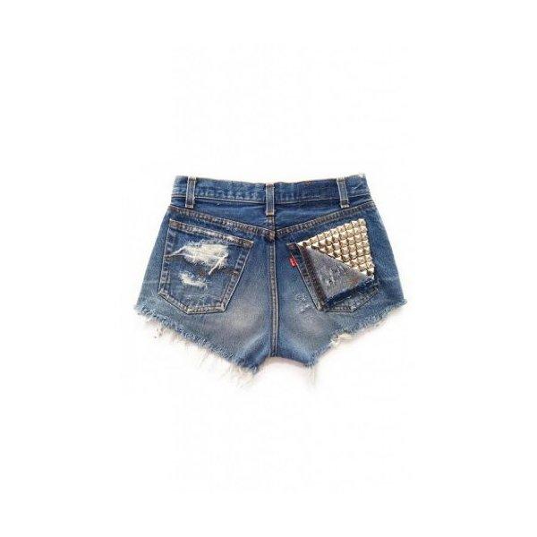 Women's Low Rise Shredded Vega Vintage Levi's Studded Ripped Denim Short-L