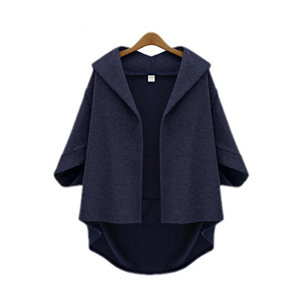 Amy Queen -Bat Sleeve Woolen Seven Sleeve Jacket (Medium, Dark blue)
