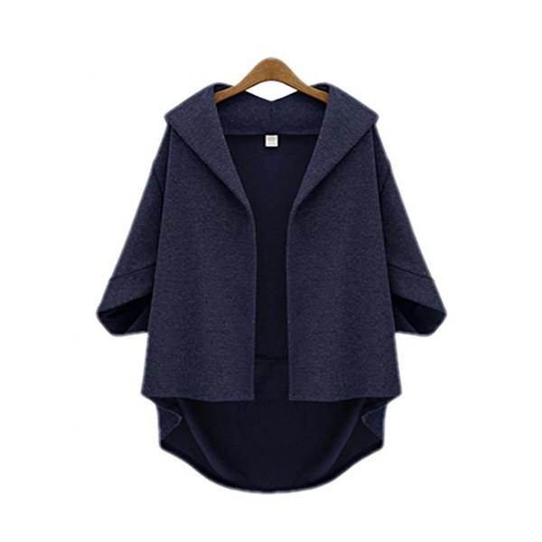 Amy Queen -Bat Sleeve Woolen Seven Sleeve Jacket (Medium, Dark blue)