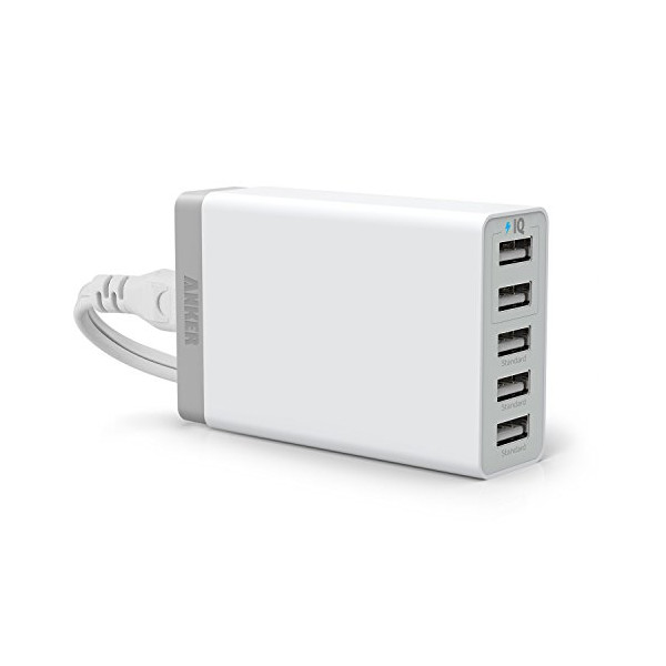 Anker 25W 5-Port Desktop USB Charger with PowerIQ Technology for Smartphones, Tablets and Many Other Devices (White)