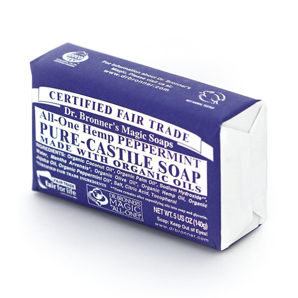Dr. Bronner's Hemp Peppermint Bar Soap, 6 pack