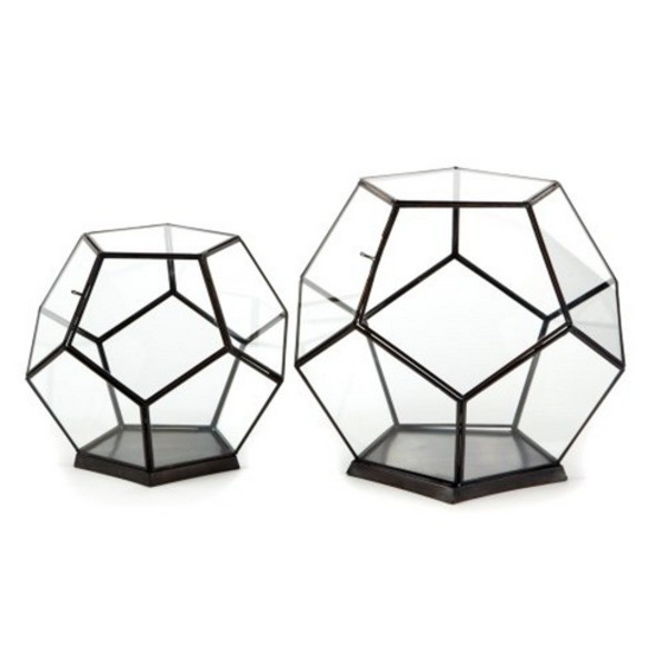 Two's Company Octagonal Glass Boxes, Set of 2