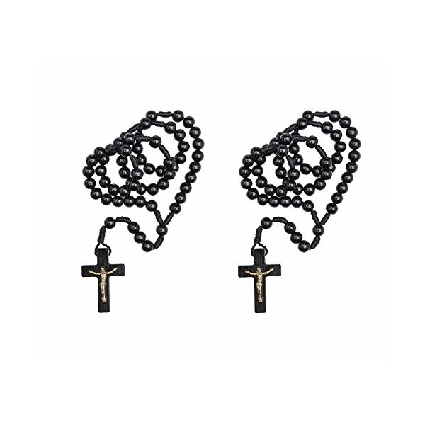 Intercession 2pc Solid Wood Rosary - Made in Brazil (Black)