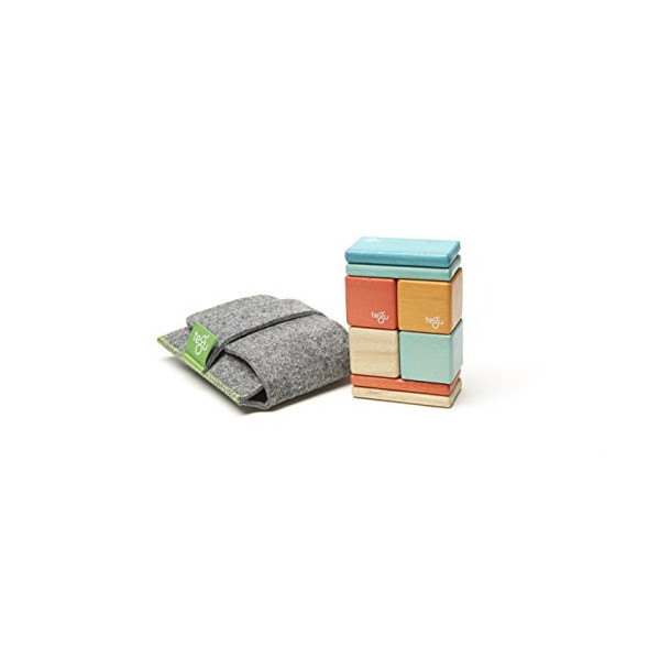 8 Piece Tegu Pocket Pouch Magnetic Wooden Block Set, Sunset