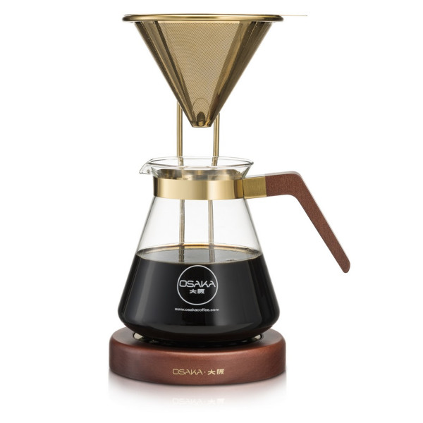 Osaka Gold Pour-Over Coffee Dripper with Wood Stand