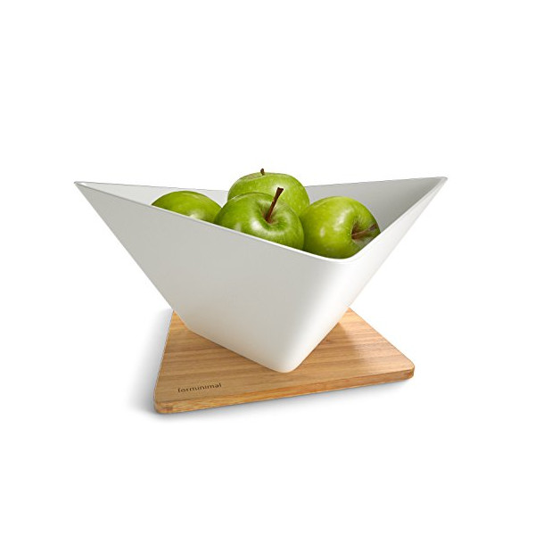 Black+Blum Forminimal Draining Fruit Bowl + Mat - White