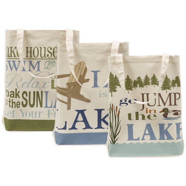 DII 100% Cotton, Machine Washable Heavy Duty Canvas Reusable Shopping Tote Bags, French Grain Sack Printed Totes, Set of 3