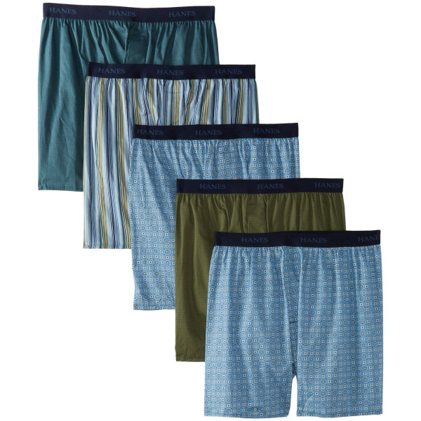 Hanes Men's 5-Pack TAGLESS Assorted Prints Boxer