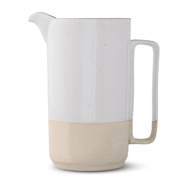 Bloomingville White Ceramic Barbara Pitcher, Multicolor