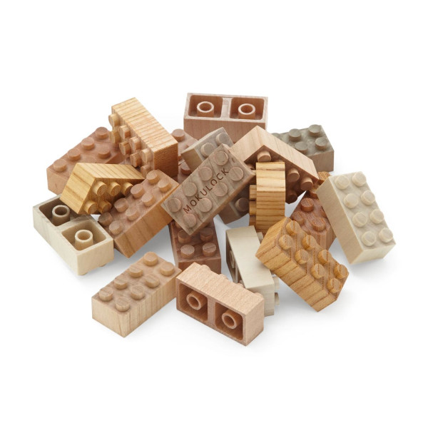 Mokulock Wooden Building Blocks, 24 Pieces