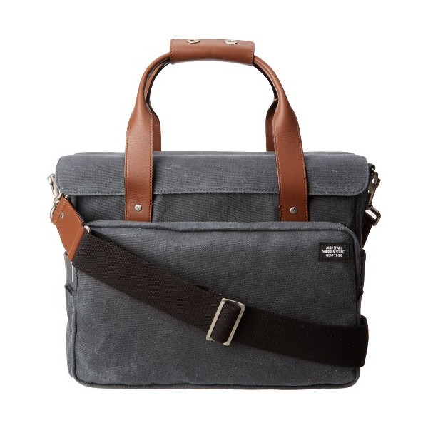 Jack Spade Stone Burlap Survey Bag Briefcase, Slate