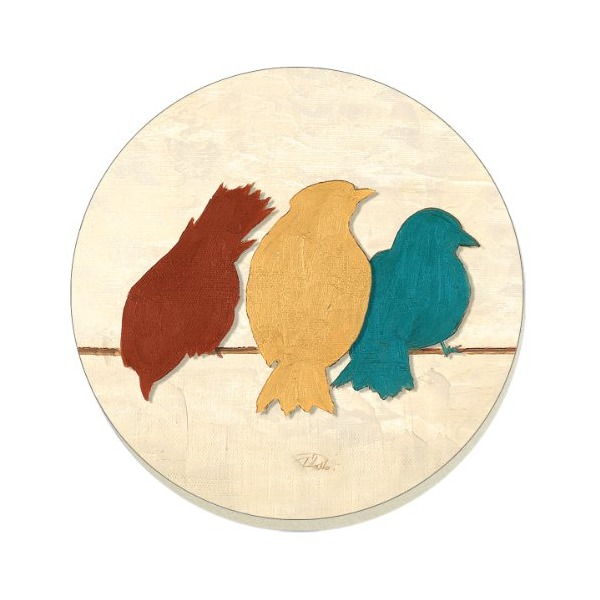 "CounterArt Absorbent Coasters, ""Birds on Line"", Set of 4"