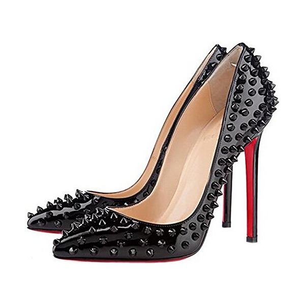 Lucksender Womens Studded Pointed Toe Stiletto Pumps Celebrity Party Pumps High Heel Evening Shoes (39 M EU / 8 B(M) US, Black)