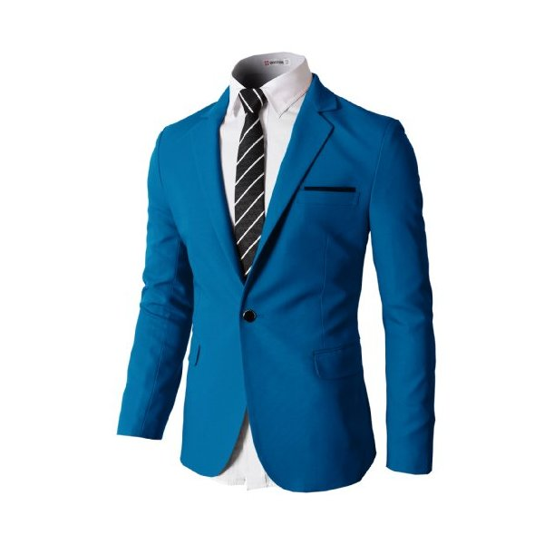 H2H Mens Slim Fit Single One Button Blazer Jackets with Pocketchief Trim BLUE US L/Asia XL (KMOBL046)