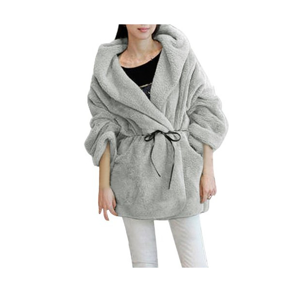 Woman Hooded Long Sleeve Bathrobe Style Coat Plush Coat