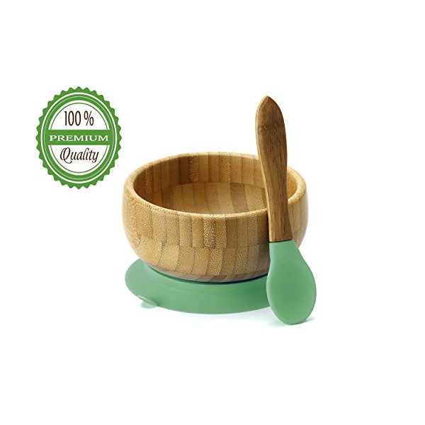Baby Toddler Bamboo Spill Proof Stay Put Suction Bowl. Bye Bye Plastic + Spoon Soft Tip Teether NO-BPA Silicone + BONUS E-BOOK. Great baby gift set. Lifetime Guarantee (Green)