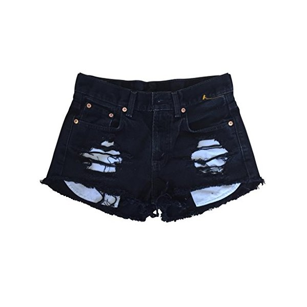 Women High Rise Black Denim Shredded Destroyed Levi's Ripped Cut-Off Shorts-L