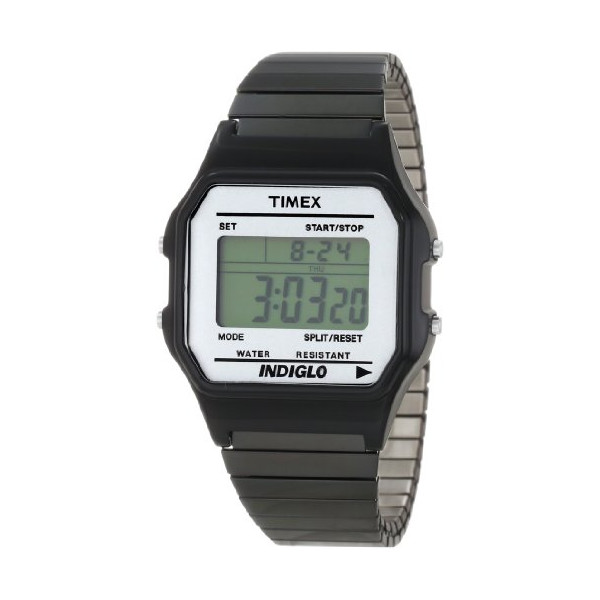 Timex Men's T2N028T8 Fashion Digitals Premium Black Watch