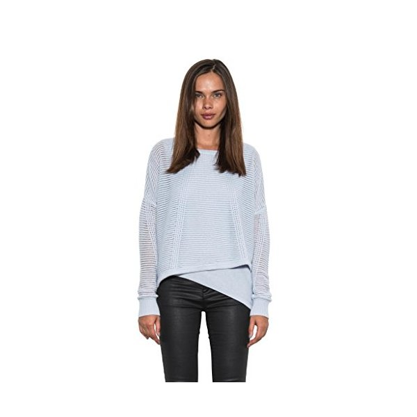 Ajax Hem Multi-Knit Wool Striped Women's Sweater by One Grey Day Light Blue-L