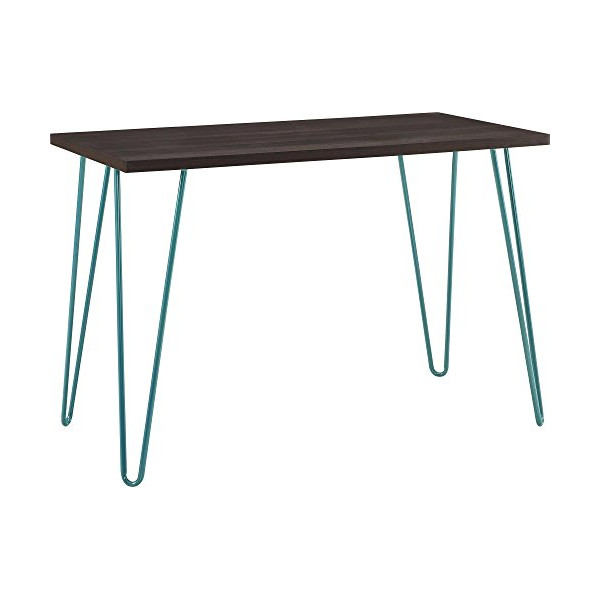 Ameriwood Industries Altra Owen Retro Desk, Metal Legs, Teal and Black